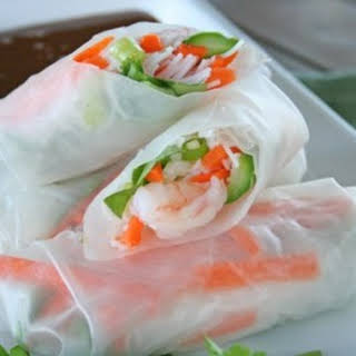 Shrimp Spring Rolls with Sweet & Spicy Peanut Dipping Sauce.