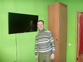 Photo: The twin room has TV with film collection.