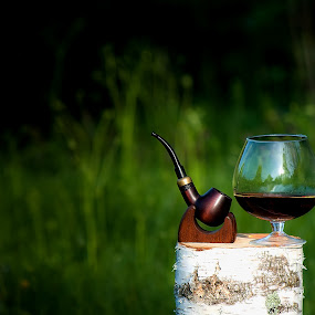 Best Rest by Dmitriev Dmitry - Food & Drink Alcohol & Drinks ( nature, grass, tobacco pipe, tobacco, glass, cognac, log, pipe )