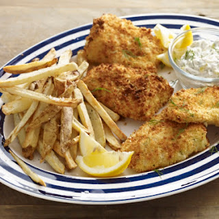 Air-Fried Fish & Chips with Tangy Herb Sauce.