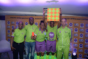 Former top SA referee Enoch Molefe, Victor Hlongwane, SAFA Female referee Akhona Makalima, Zakhele Siwela and Victor Gomes during the OUTsurance Sponsorship Announcement of SAFA Match Officials at SAFA House on September 11, 2018 in Johannnesburg, South Africa.
