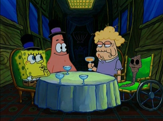 Spongebob chocolate lady dinner, they are old. Just to sell chocolate!
