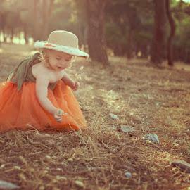 After summer day... by Patricia Wouterse - Babies & Children Children Candids ( girl, forrest, summer, spain, golden hour, hat )