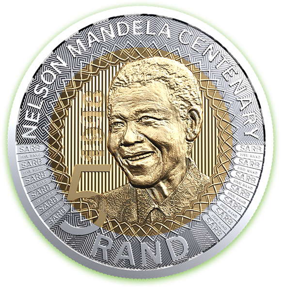 The new R5 coin that will go into circulation to celebrate the centenary birthday of Nelson Mandela.