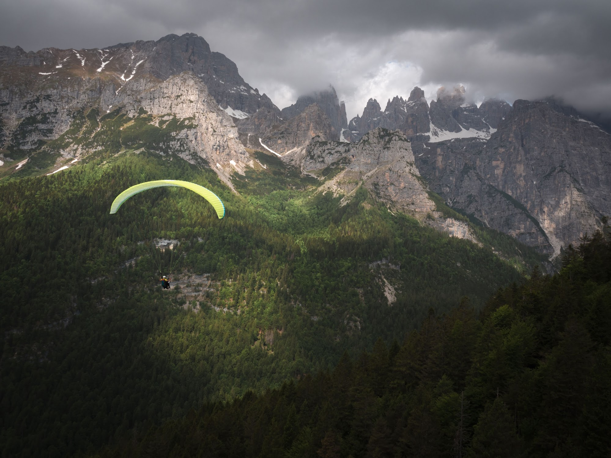 Paragliding over Lake Molveno