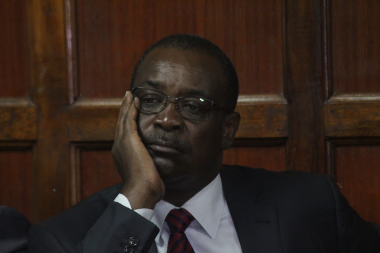 Former Nairobi Governor Evans Kidero at a Milimani court during the hearing of his abuse of office case alongside other individuals.