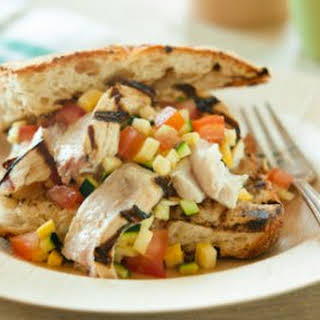 Grilled Swordfish Sandwiches with Summer Squash Salsa.