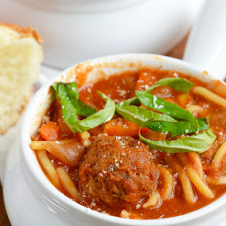 Slow Cooker Spaghetti and Meatball Soup Recipe