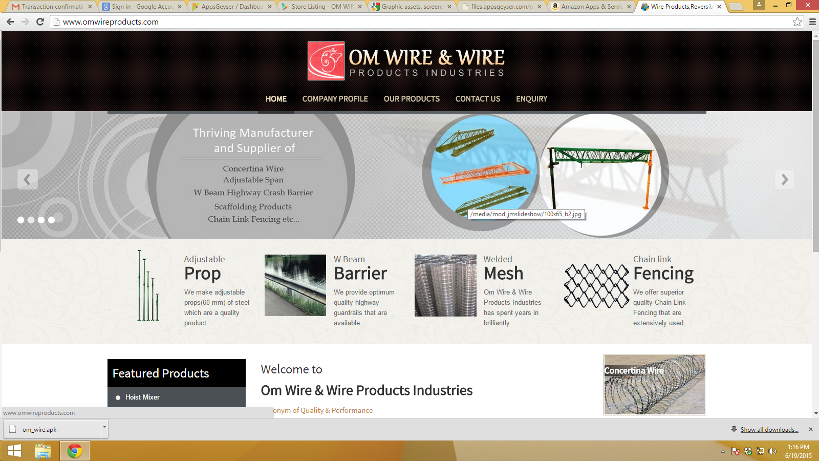 OM WIRE PRODUCTS- screenshot