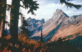 Photo: 36. American Border Peak (R) and Canadian Border Peak (L) From Gold Run Pass, Tomyhoi Lake trail.
