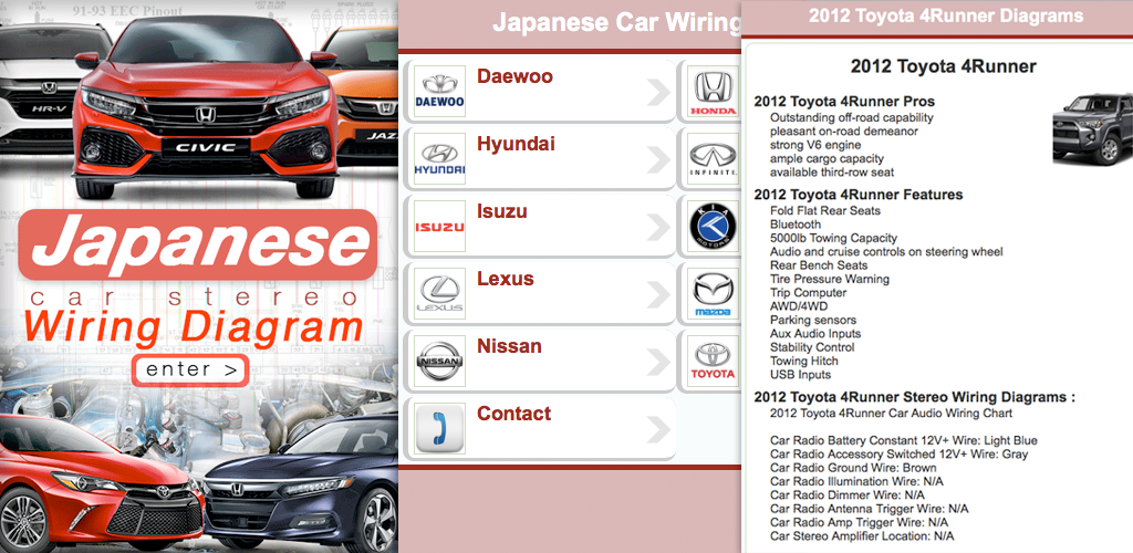 Descargar Japanese Car Stereo Wiring Diagrams 1.0 Android ... on club car manuals and diagrams, pinout diagrams, custom stereo diagrams, 7.3 ford diesel diagrams, 3930 ford tractor parts diagrams, dodge ram vacuum diagrams, battery diagrams, car door lock diagram, club car manual wire diagrams, car battery, car electrical, chevy truck diagrams, car vacuum diagrams, car schematics, factory car stereo diagrams, car parts diagrams, autozone repair diagrams, car motors diagrams, car starting system, car exhaust,