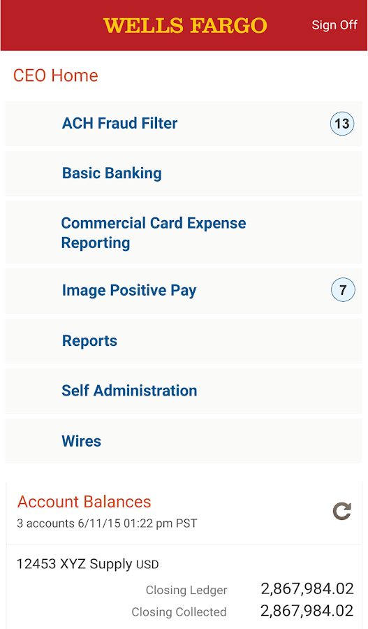 Wells Fargo CEO Mobile®- screenshot