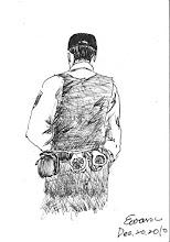 Photo: 背影2010.12.20鋼筆 戒護外醫門診,必然全副武裝,手梏、無線電、防彈背心,從背後看大概就這個模樣。