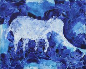 """Photo: """"Eléphant sans défense"""". Huile sur toile, 33x41cm, format horizontal."""