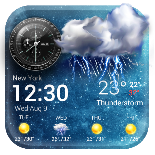 Daily & Hourly Weather Clock Widget