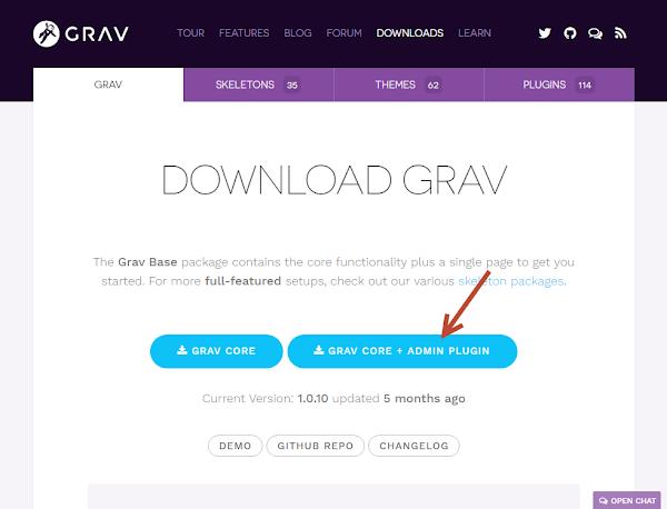 gravダウンロード画面