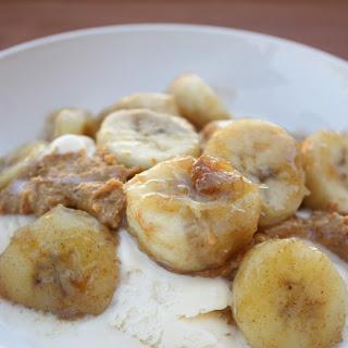 Cinnamon Glazed Bananas with Peanut Butter and Icecream Recipe