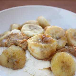 Cinnamon Glazed Bananas with Peanut Butter and Icecream.