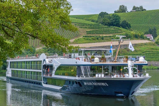 The 128-passenger Avalon Artistry II cruises past a terraced landscape on the Danube.