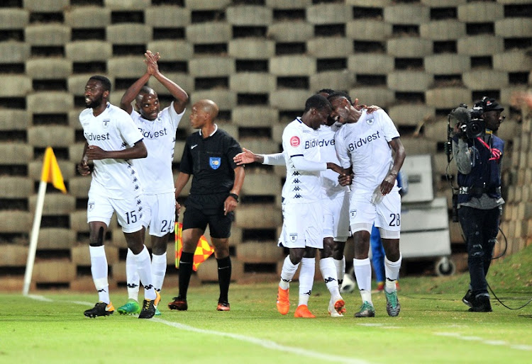 Mxolisi Machupu of Bidvest Wits celebrates a goal with teammates during the Absa Premiership 2018/19 match between Bidvest Wits and Free State Stars at Bidvest Stadium, Johannesburg on 04 August 2018.