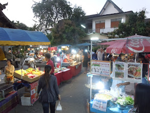 Photo: Food area at Walking Market, Sunday evening in Chiang Mai