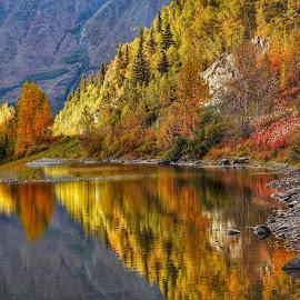 Reflecting Autumn by Patricia Phillips - Landscapes Travel ( alaska lakes autumn jerome )
