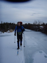 Photo: Skiing on overflow on the Stampede Trail.