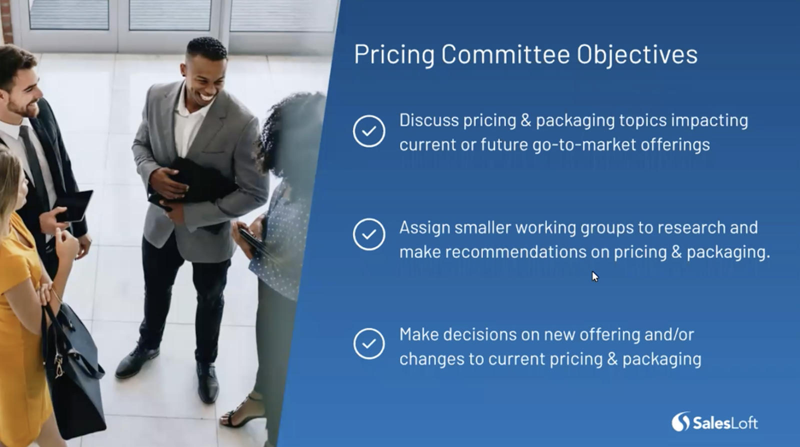 An outline of pricing committee objectives.