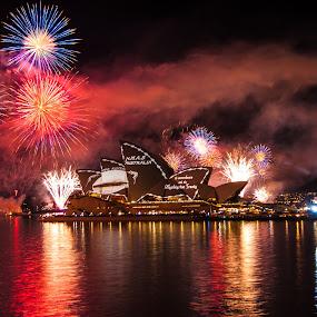 by Carley Reed - City,  Street & Park  Skylines ( australia, dark, fireworks, night, opera house, fleet review, colours )