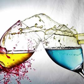 Colourful splash by Peter Salmon - Artistic Objects Glass ( colour, wine, splash, glasses, pour,  )