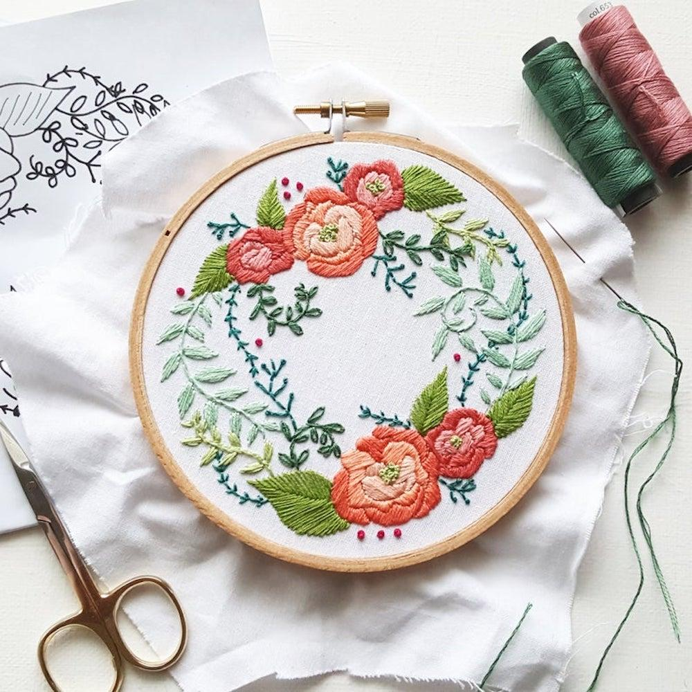 A floral DIY embroidery kit from Namaste Embroidery