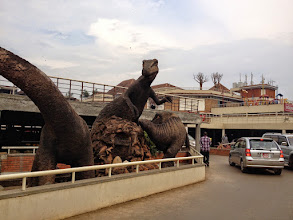 Photo: Dinosaurs in the city centre of Kampala??