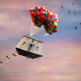 by Kim Jones - Digital Art Things ( sky, doors, ladder, balloons )