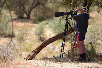 Photo: A friend with his D700 and 600mm f4 at Haak en Steek Rest Camp in the Mokala National Park. Note the buffalo warning in front of his knees.