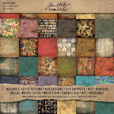 Tim Holtz Idea-Ology Paper Pad 12X12 36/Pkg - Lost & Found