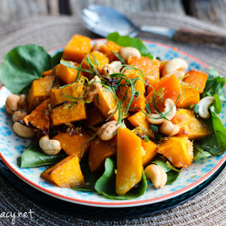 Warm Roast Pumpkin and Cashew Salad.