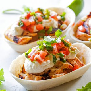 Grilled Chicken Tacos with Feta Cream.