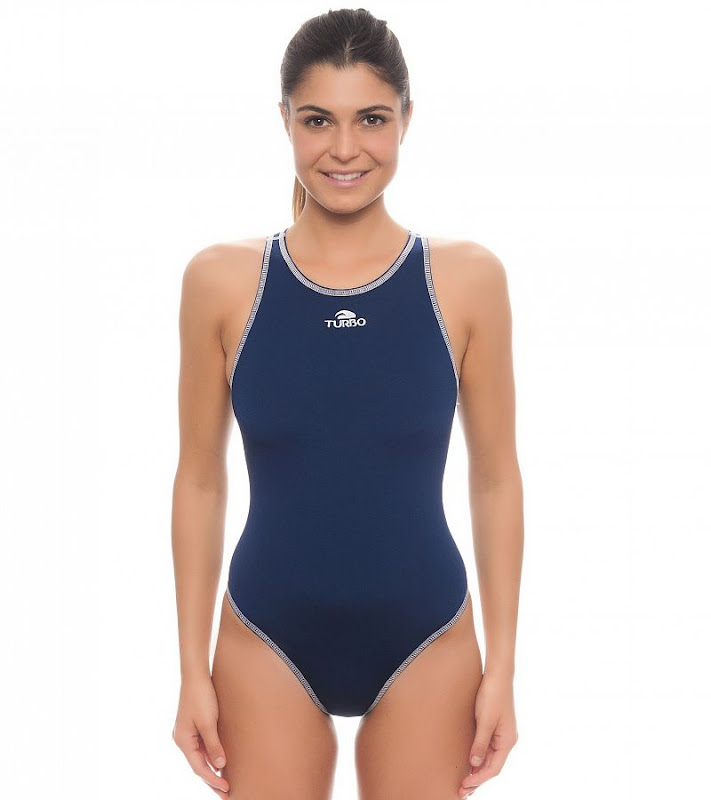 Turbo waterpolo suit girl COMFORT Navy blue - 8934822