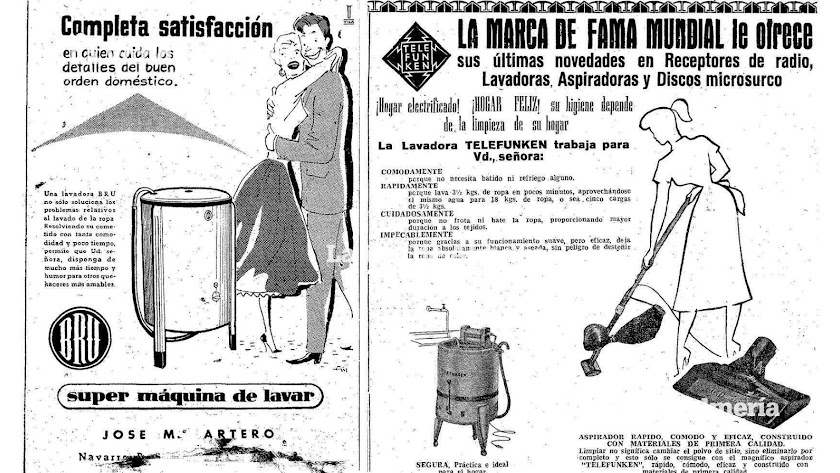 En la tienda de José María Artero la lavadora Bru le decía a la mujer que con su adelanto podría dedicarse a otros quehaceres más amables.