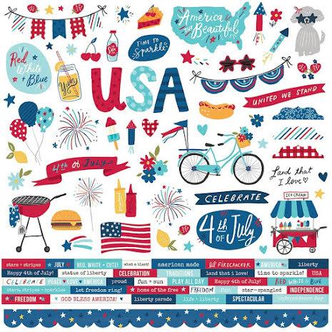 Simple Stories Sticker Sheet 12X12 - Stars, Stripes + Sparklers