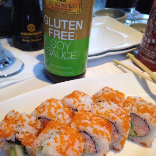 Enjoying my naturally gluten free Hawaiian roll with gluten free soy sauce!