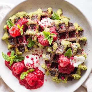 Matcha Waffles with Rasberry Coulis