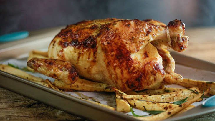 Tarragon, Mustard and Honey Roast Chicken on Parsnips Recipe | Yummly
