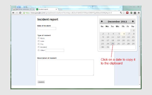 Date picker extension