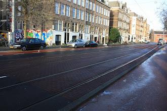 Photo: Proefvak bestrating trambaan Marnixstraat