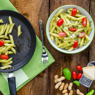 Penne With Spinach Sauce Tomatoes & Peanuts.