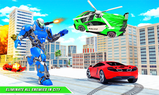 Flying Police Helicopter Car Transform Robot Games screenshots 3