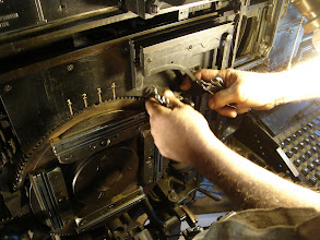 """Photo: """"Dave wrench hands"""" working on the Star Quadder conversion, the most recent activity in the new shop."""