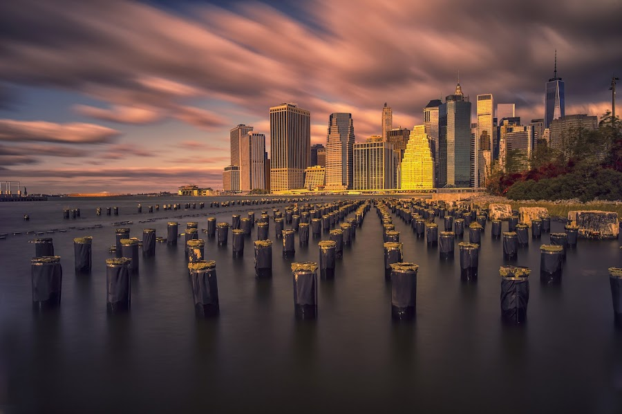 Lower Manhattan by Stanley P. - City,  Street & Park  Skylines (  )