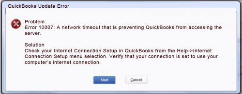 QuickBooks error 12007 message